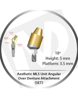 18° X 5mm X 3.5 Platform Angular MLS Unit Over Denture Attachment Set