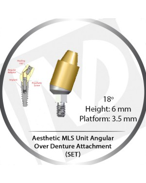 18° x 6mm x 3.5 Platform Angular MLS Unit Over Denture Attachment Set