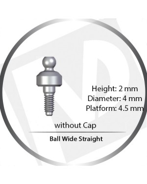 2mm x 4mm x 4.5 Platform Over Denture Ball Attachement Wide Straight – without Cap