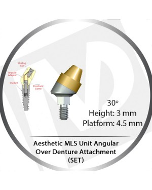 30° x 3mm x 4.5 Platform Angular MLS Unit Over Denture Attachment Set