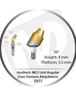30° x 4mm x 3.5 Platform Angular MLS Unit Over Denture Attachment Set