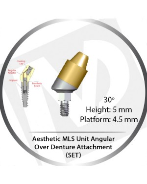 30° x 5mm x 4.5 Platform Angular MLS Unit Over Denture Attachment Set