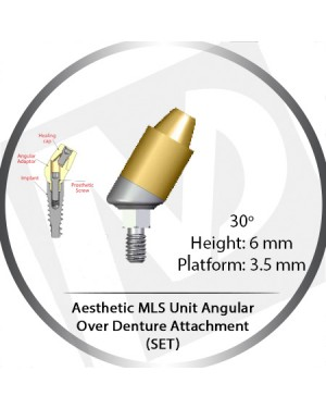 30° x 6mm x 3.5 Platform Angular MLS Unit Over Denture Attachment Set