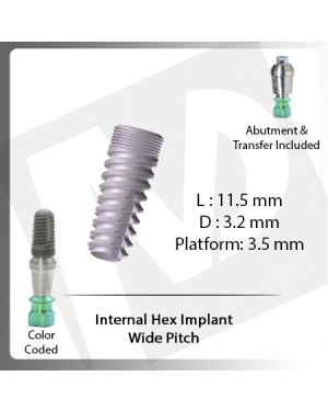 11.5 L X 3.2 D X 3.5 P Internal Hex Implant (Wide Pitch)