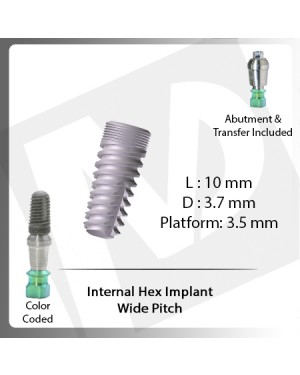 10 L X 3.7 D X 3.5 P Internal Hex Implant (Wide Pitch)
