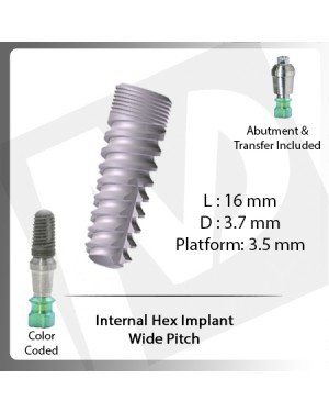 16 L X 3.7 D X 3.5 P Internal Hex Implant (Wide Pitch)