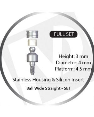 3mm x 4mm x 4.5 Platform Over Denture Ball Attachment Wide Straight – Set with Stainless Housing and Silicon Insert