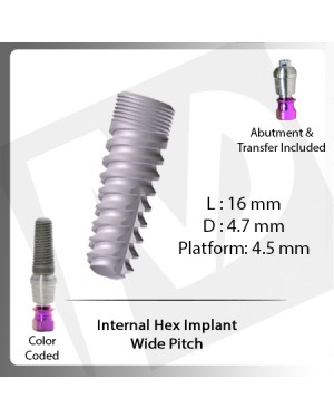 16 L X 4.7 D X 4.5 P Internal Hex Implant (Wide Pitch)