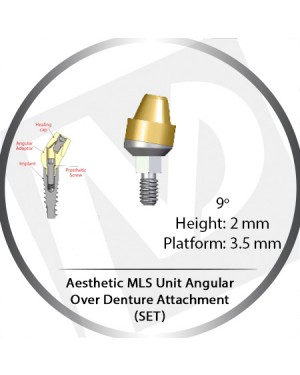9° x 2mm x 3.5 Platform Angular MLS Unit Over Denture Attachment Set