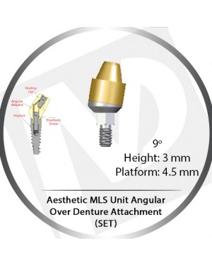9° x 3mm x 4.5 Platform Angular MLS Unit Over Denture Attachment Set