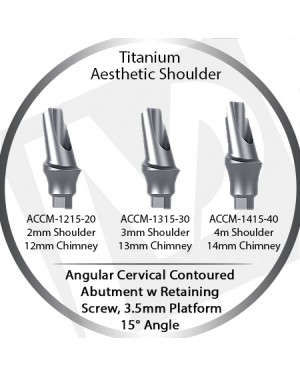 2 - 4 mm x 15° x 3.5 Platform Titanium Abutment, Cervical Contoured, Aesthetic Shoulder
