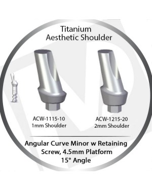 1 - 2 mm x 15° x 4.5 Platform Titanium Abutment, Angular Curve Wide, Aesthetic Shoulder