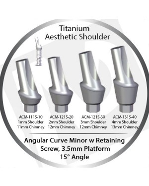 1 - 4 mm x 15° x 3.5 Platform Titanium Abutment, Angular Curve Minor, Aesthetic Shoulder