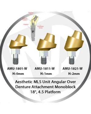 0 - 2 mm H x 18° x 4.5 Platform Angular MLS Unit Over Denture Attachment Monoblock