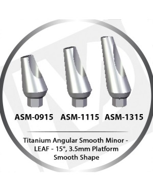 9 - 13 mm x 15° x 3.5 Platform Titanium Abutment, Angular Smooth Minor - Smooth Shape