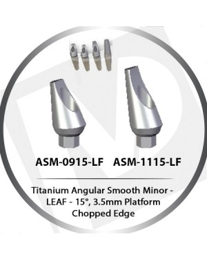 9 - 11 mm x 15° x 3.5 Platform Titanium Abutment, Angular Smooth Minor - Leaf, Chopped Edge