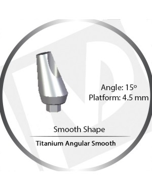 11mm x 15° x 4.5 Platform Titanium Abutment, Angular Smooth Wide - Smooth Shape