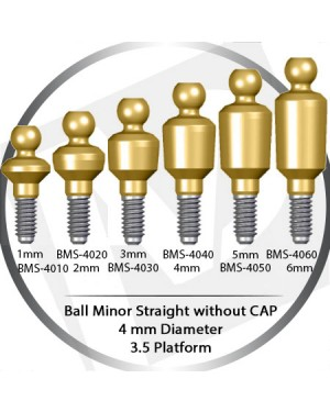 1 - 6 mm x 4mm x 3.5 Platform Over Denture Ball Attachment Minor Straight – without Cap