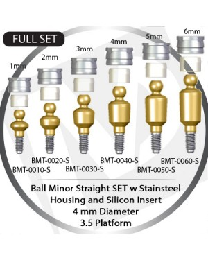 1 - 6 mm x 4mm x 3.5 Platform Over Denture Ball Attachment Minor Straight – Set with Stainless Housing and Silicon Insert