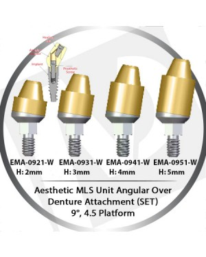 2 - 5 mm H x 9° x 4.5 Platform Angular MLS Unit Over Denture Attachment Set