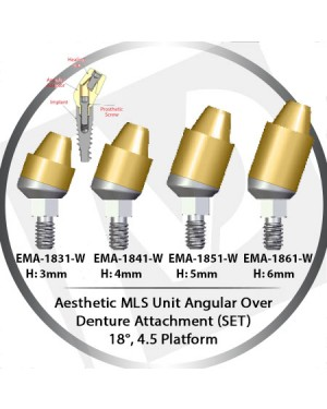 3 - 6 mm H x 18° x 4.5 Platform Angular MLS Unit Over Denture Attachment Set
