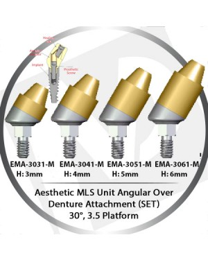 3 - 6 mm H x 30° x 3.5 Platform Angular MLS Unit Over Denture Attachment Set
