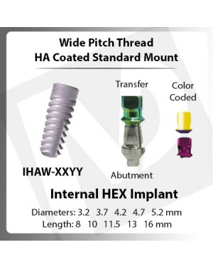 Implants – Wide Pitch Standard Mount HA Coated