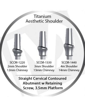 2 - 4 mm x 3.5 Platform Titanium Abutment, Cervical Contoured, Aesthetic Shoulder