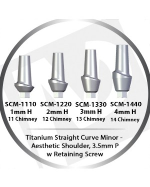 1-4mm x 3.5 Platform Titanium Abutment Straight Curve Minor  - Aesthetic Shoulder