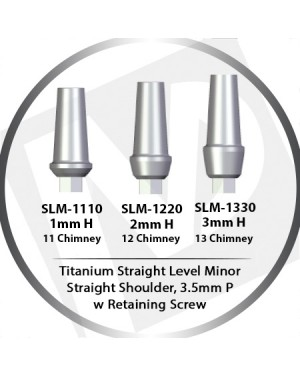 1 - 3mm x 3.5 Platform Titanium Abutment Straight Level Minor  - Straight Shoulder