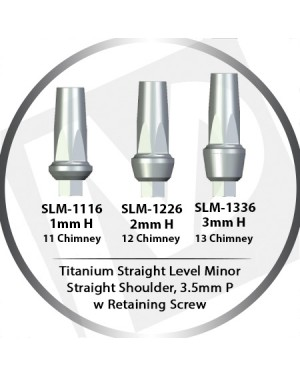 1 - 3mm x 3.5 Platform Titanium Abutment Straight Level Minor w HEX  - Straight Shoulder