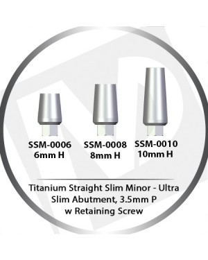 6, 8, 10 mm x 3.5 Platform Titanium Abutment Ultra Slim