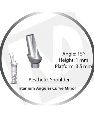 1mm x 15° x 3.5 Platform Titanium Abutment, Angular Curve Minor, Aesthetic Shoulder