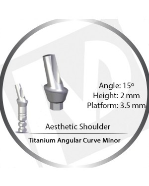 2mm x 15° x 3.5 Platform Titanium Abutment, Angular Curve Minor, Aesthetic Shoulder