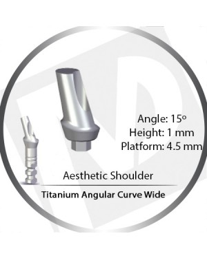 1mm x 15° x 4.5 Platform Titanium Abutment, Angular Curve Wide, Aesthetic Shoulder
