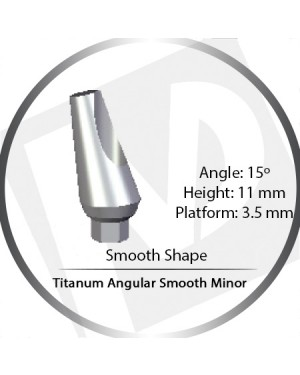 11mm x 15° x 3.5 Platform Titanium Abutment, Angular Smooth Minor - Smooth Shape
