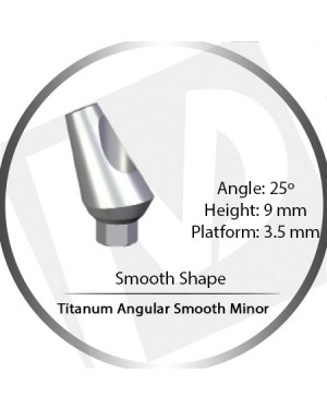 9mm x 25° x 3.5 Platform Titanium Abutment, Angular Smooth Minor - Smooth Shape