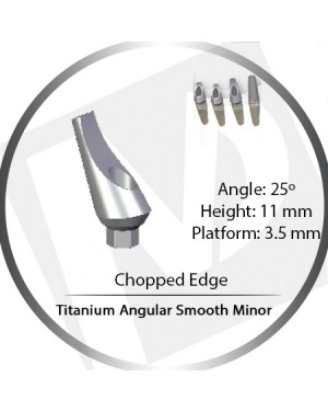 11mm x 25° x 3.5 Platform Titanium Abutment, Angular Smooth Minor - Leaf, Chopped Edge