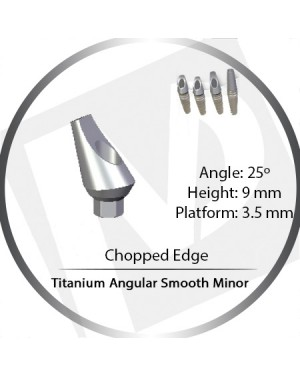 9mm x 25° x 3.5 Platform Titanium Abutment, Angular Smooth Minor - Leaf, Chopped Edge