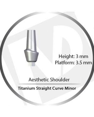 3mm x 3.5 Platform Titanium Abutment Straight Curve Minor  - Aesthetic Shoulder