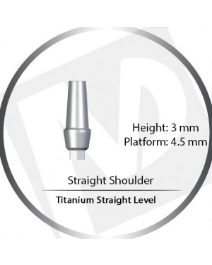 3mm x 4.5 Platform Titanium Abutment Straight Level Wide  - Straight Shoulder