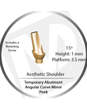 1mm x 15° x 3.5 Platform Temporary Abutment Angular Curve Peek – Aesthetic Shoulder