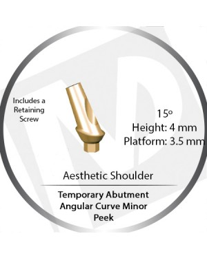 4mm x 15° x 3.5 Platform Temporary Abutment Angular Curve Peek – Aesthetic Shoulder