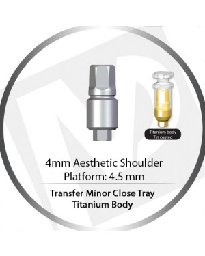 4mm X 4.5 Platform Transfer Wide Close Tray Abutment – Titanium Body Aesthetic Shoulder