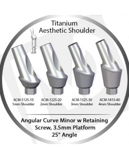 1 - 4 mm x 25° x 3.5 Platform Titanium Abutment, Angular Curve Minor, Aesthetic Shoulder
