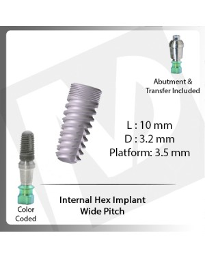 10 L X 3.2 D X 3.5 P Internal Hex Implant (Wide Pitch)