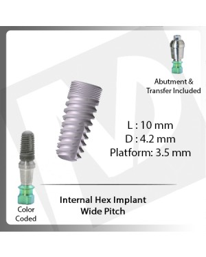 10 L X 4.2 D X 3.5 P Internal Hex Implant (Wide Pitch)
