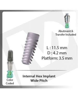 13 L X 3.7 D X 3.5 P Internal Hex Implant (Wide Pitch)