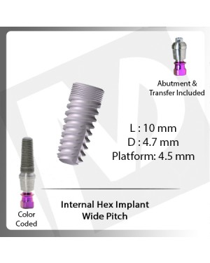 10 L X 5.2 D X 4.5 P Internal Hex Implant (Wide Pitch)