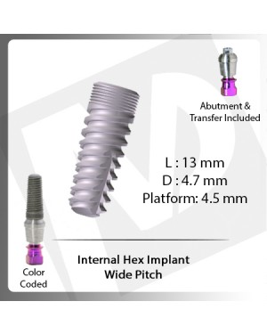 13 L X 4.7 D X 4.5 P Internal Hex Implant (Wide Pitch)